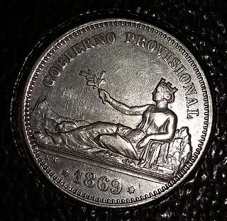 1 peseta 1869. Gobierno Provisional  NMozO